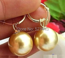 Wholesale free shipping >>16MM GOLD PERFECT ROUND AAA++ SOUTH SEA SHELL PEARL DANGLE EARRING