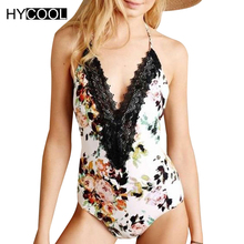 HYCOOL Vintage Floral Swimwear Women Lace One Piece Swimsuit Halter Sexy Deep v Monokini Bathing Suit Swimming Suit Moda Praia