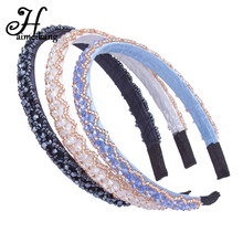 Haimeikang 2017 3Pcs/Lot Korean New Fashion Women Bead Hair Band Headband Lady Elegant Crystal Hair Hoop Headwear Headpieces(China)