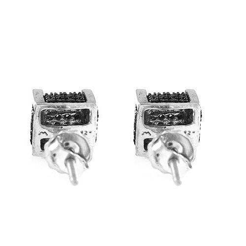 1/10 CT Round Cut Black D/VVS1 Diamond Stud Earrings 18K White Gold Over (1)