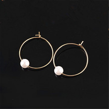 Minimalist cos hm circle pearl ear ring earring transparent glass bead earrings earrings female restoring ancient ways(China)