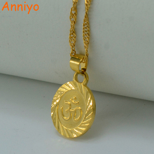 Anniyo OHM Hindu Buddhist AUM OM Necklace Hinduism Yoga India Outdoor Sport Gold Color/Silver Yoga Jewelry Women #024806(China)