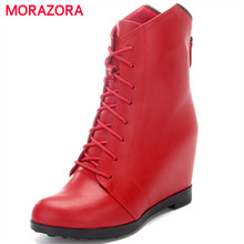 MORAZORA Genuine leather boots woman zipper solid pointed toe women boots spring autumn fashion ankle boots shoes woman