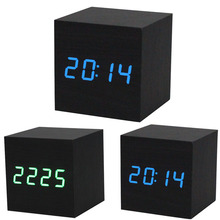 New Qualified 2017 New 1PC Digital LED Black Wooden Wood Desk Alarm Brown Clock Voice Control dig6429