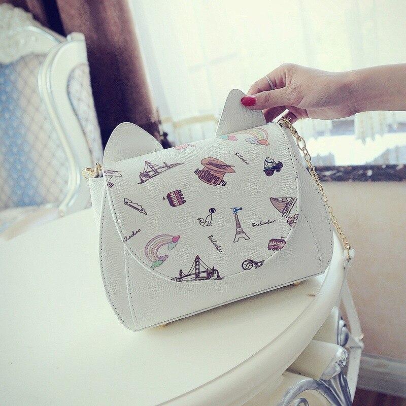 Fashion Handbags 2017 Woman Small Cats Ear Bag Girls Love Mini Crossbody Bags High Quality Famous Brand Cartoon Soft PU Flap <br>