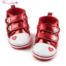 Baby Girls Boys PU Leather Heart Pattern Crib Shoes Soft Prewalkers Casual Toddler Sneaker Baby Shoes(China)