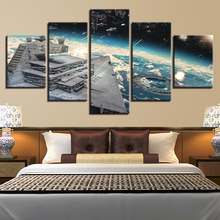Canvas Wall Art Prints Poster Living Room Decor Framework 5 Pieces Star Wars Millennium Falcon Paintings Movie Aircraft Pictures