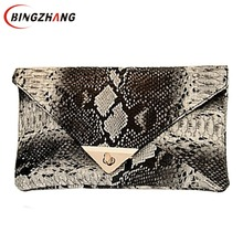 2017 Evening Bag New Fashion Women's Synthetic Leather Bag Snake Skin Envelope Bag Day Clutches Purse L7-377(China)