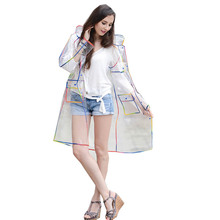 Yuding EVA Transparent Raincoat Long Clear Rainwear Hooded Outdoor Touring Rain Coat(China)