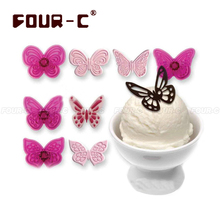 4 Pcs/set Butterfly Plastic Cake Cookie Cutters Biscuit Sugar Paste Mold Set DIY 3D fondant Cake Decorating tools(China)