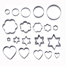 20pcs/set Stainless Steel Cookie Cutters Flower Star Heart Ring Shaped Biscuit Mold Fondant Clay Cutter Cookies Tools