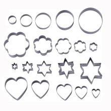 20pcs/set Stainless Steel Cookie Cutters Flower Star Heart Ring Shaped Biscuit Mold Fondant Clay Cutter Cookies Tools(China)