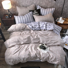 2018 home bedding Duvet cover set super king bedclothes grey flat sheet Adults bedding set 5 size bed linens AB side duvet cover(China)