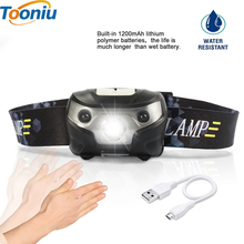 3000LM Mini Rechargeable LED HeadLamp Body Motion Sensor LED Bicycle Head Light Lamp Outdoor Camping Flashlight With USB(China)