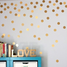 New Gold Polka Dots Wall Sticker Children Room Golden Boho Dots DIY Kids Room Wall Decal Girls Room Easy Removable Cut Vinyl(China)