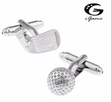 iGame Golf Club Cuff Links For Men Quality Brass Material Free Shipping(China)