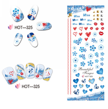 UPRETTEGO NAIL ART BEAUTY WATER DECAL SLIDER NAIL STICKER RED LEAF MAPLE UMBRELLA DAISY NATIONAL FLAG KISS HOT325-330(China)