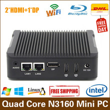 HYSTOU Small PC Celeron Quad Core N3160 Turbo Boost 2.24GHz 2HDMI 1DP support 3 display Windows 10 Mini PC small form factor pc(China)