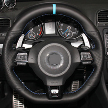 XuJi Hand-stitched Black Genuine Leather Car Steering Wheel Cover for Volkswagen Golf 6 GTI MK6 VW Polo GTI Scirocco R Passat CC