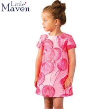 Euro USA children brand clothes 2017 new summer baby girls clothes kids Cotton colorful balloon print girl pink dress DG0044(China)