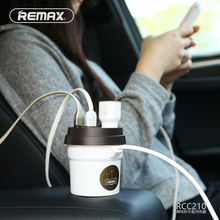 Remax Auto Cup Car Charger 5V3.1A Voltage LED Screen Display 2 USB Car-Charger Car Cigarette Lighter Cup Holder Power Adapter