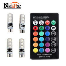 4Pcs T10 W5W LED Car Lights LED Bulbs RGB With Remote Control 194 168 501 Strobe Led Lamp Reading Lights White Red Amber 12V(China)