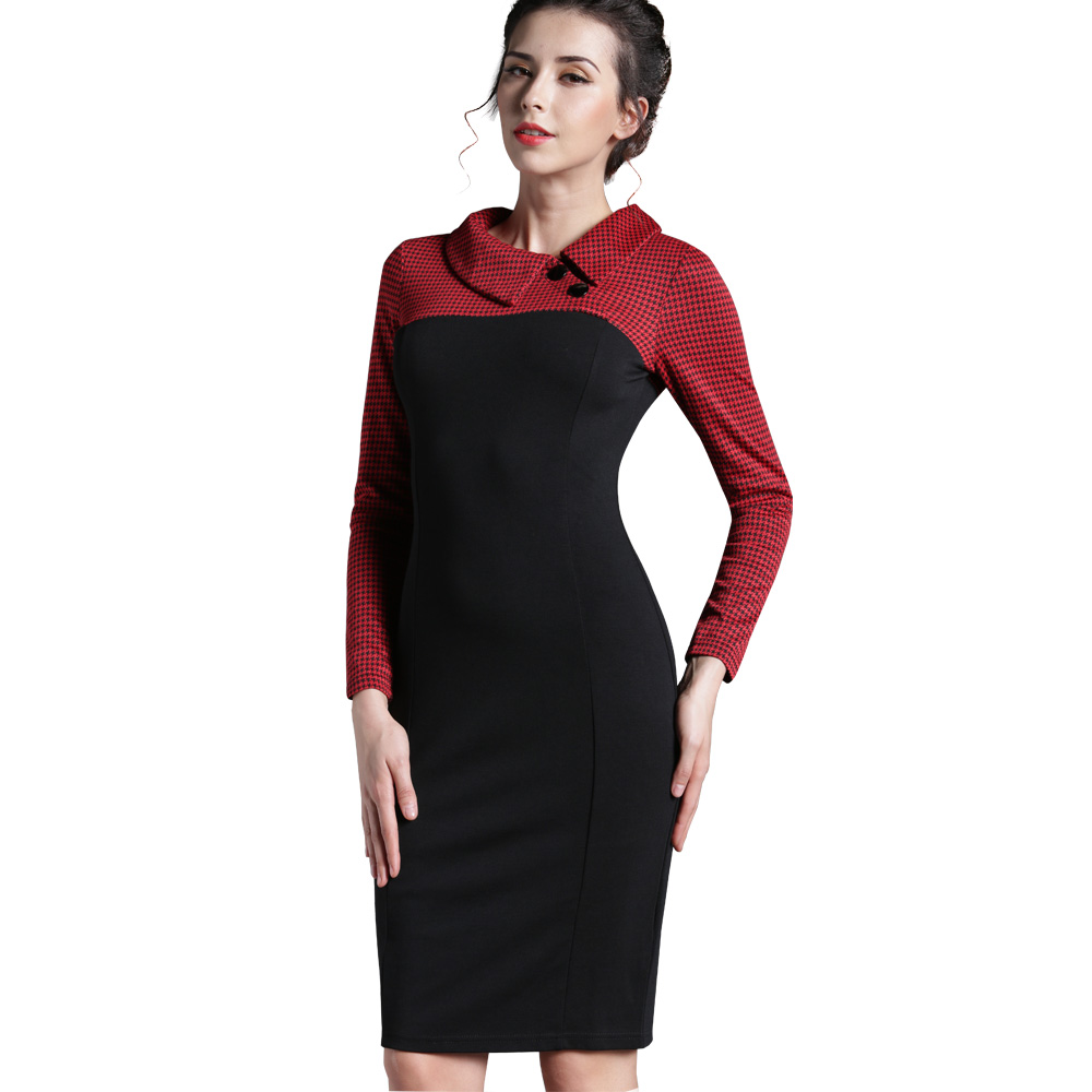 Nice-forever Elegant Vintage Fitted winter dress full Sleeve Patchwork Turn-down Collar Button Business Sheath Pencil Dress b238 27