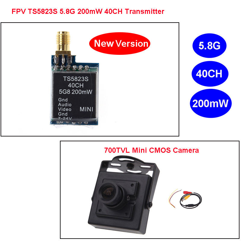 Free Shipping! Upgraded TS5823S 5.8G 200mW 40CH Wireless AV Transmitter+700TVL MTV FPV Camera<br><br>Aliexpress