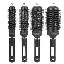 1 Pc Black Creramic Round Ionic Hair Brush Roller Comb Anti-static Massage Scalp Professional Round Barrel Curly Hair Comb Brush(China)