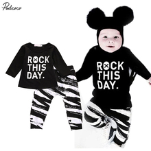 "2017 new summer Neweborn Baby Girl Boy Clothes Long Sleeve Letter ""rock this day"" T-shirt+Leggings  print cotton 2pcs"