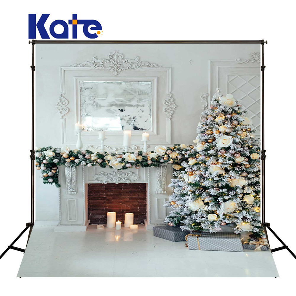 KATE Photo Background Christmas Backdrop Indoor White Backdrop Christmas Tree Background Christmas Tree Candles Background<br>
