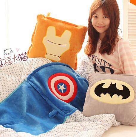 Plush blanket soft movie Iron man Captain America thor superman batman rest office cushion stuffed toy gift hand warm baby 1pc<br><br>Aliexpress