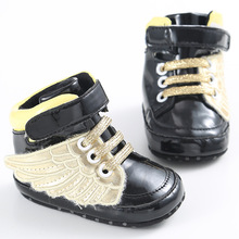 Cool Baby toddler Wings shoes infant boys girls shoes pink black girl boy chaussures bebes crib shoes first walker prewalker(China)