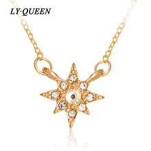Flash Star Inlay Rhinestones Necklace Starburst Hexagram Mini Pendant Valentine's Day Gift Fashion Jewelry