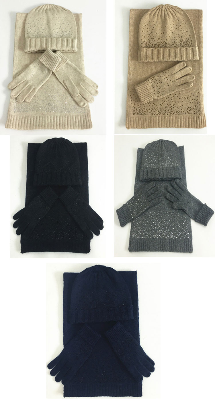 hat scarf set  Scarf, Hat & Glove Sets knitted  winter hat and scarf woman with diamond  (2)