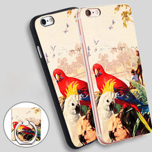 RAINBOW PARROT AUSSIE AUSTRALIA Phone Ring Holder Soft TPU Silicone Case Cover for iPhone 4 4S 5C 5 SE 5S 6 6S 7 Plus