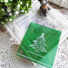 Free Shipping 10 Pcs/lot Plastic Christmas Gift Bag Bake Cookies Wedding Gift Packaging Santa Claus Christmas Decoration