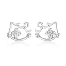 Cute Hello Kitty Earrings for Girls Small Tiny Silver Pearl Cat Stud Earrings for Women hello kitty jewelry Accessories ers-j20(China)