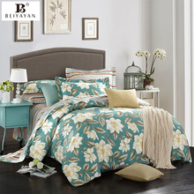 BEIYAYAN Russian style green+white flower quilt cover bed sheet bedding set  pure cotton 133*72 bedding sets twin comforter sets