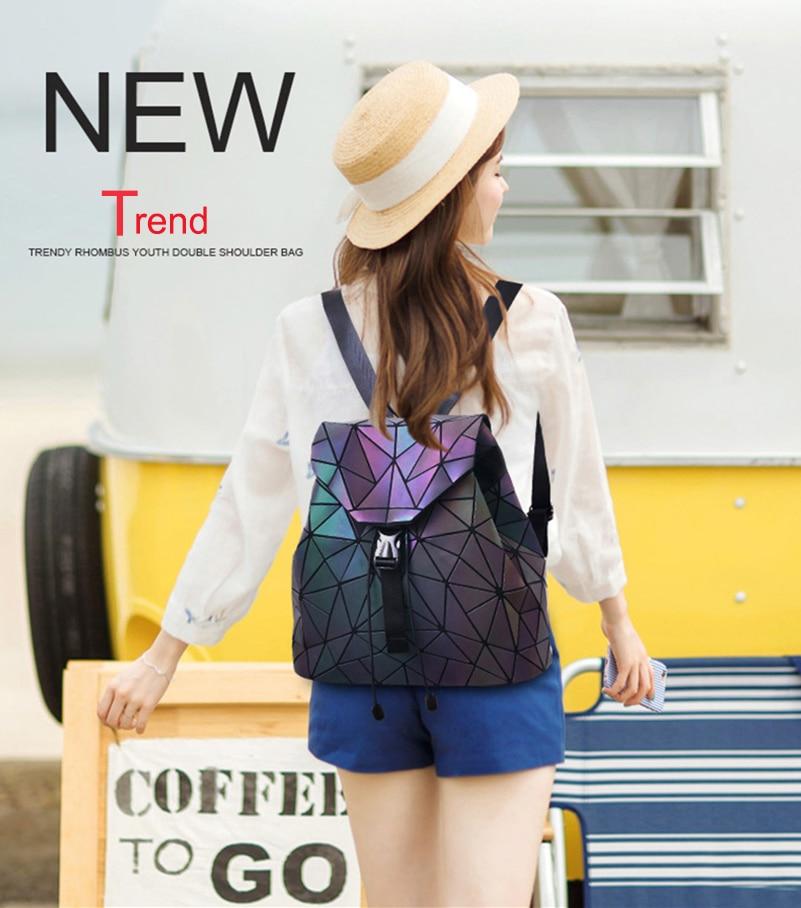 Nevenka Luminous Backpack Women Leather Geometric Backpacks Diamond Lattice Backpack Travel Girls Casual Daypacks Fashion 201803