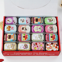 32Piece/lot Cute Picture Print Metal Box Mac Makeup Cosmetic Organizer Small Tinplate Container For Tea Coin Jewelry Lipstick