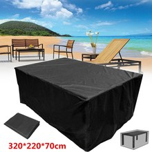 Dustproof Outdoor Garden Furniture Covers 320*220*70cm Waterproof Polyester Shelter Protection Canopy Cover Table Cloth Black(China)