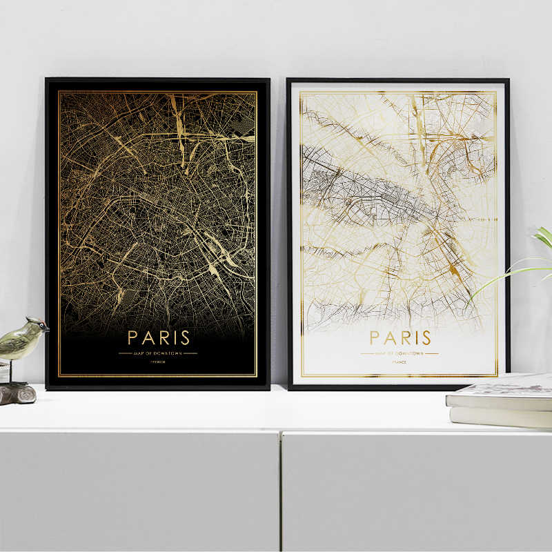 Detail Feedback Questions about Paris city map poster real gold foil on