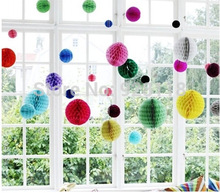 10pcs 6- 8-10-12inch Tissue Paper Flower ball Honeycomb Lantern Wedding decoration Birthday Party suppliers for child Wholesale