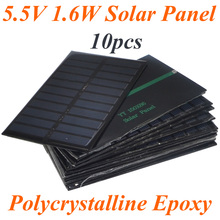 10pcs/lot Hot Sale 5.5V 270mA 1.6W Mini Solar Panels Small Solar Power 3.6v Battery Charge Solar Led Light Solar Cells 10001029