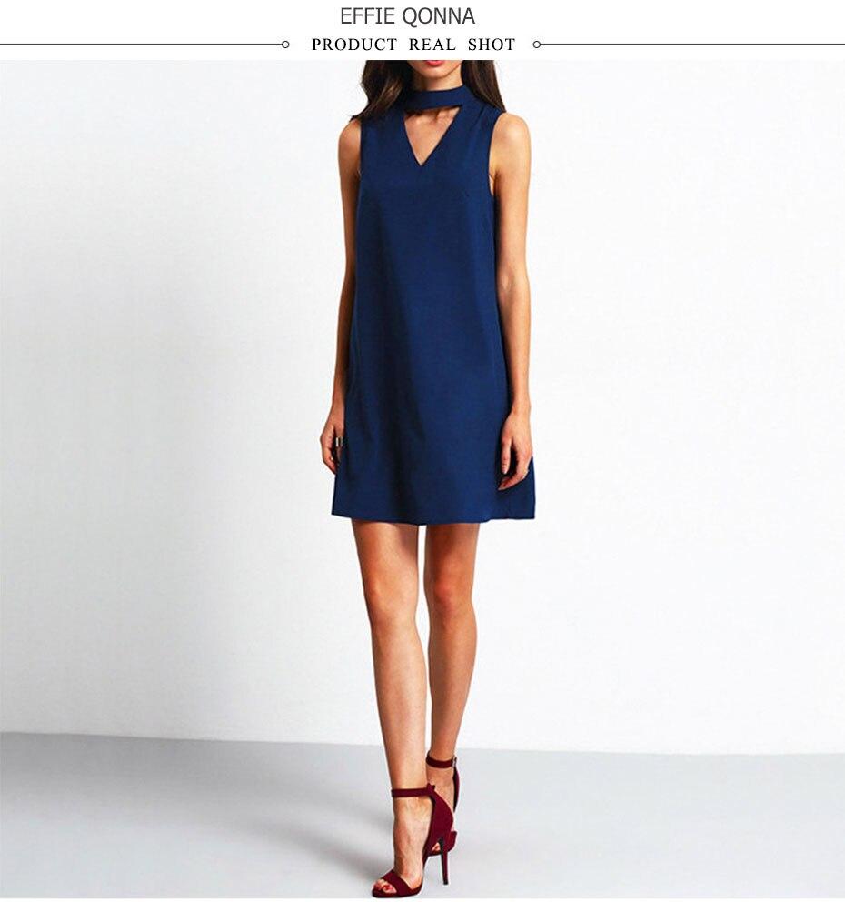 2018 summer dress women Chiffon office Dress elegant V neck Bow Sleeveless Casual dresses solid a line ladies blue Mini vestidos 3