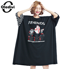 Buy Oladivi Extra Large Plus Size Women Clothing 2017 Summer Fashion Aminal Letter Print Dress Lady Casual Long Top Tee Shirt Tunic for $21.94 in AliExpress store