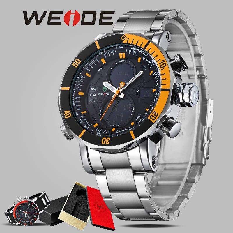 WEIDE relojes hombre men watch luxury brand alarm clock stainless steel sport date digital led  bracelets 21mm waterproof watch<br>