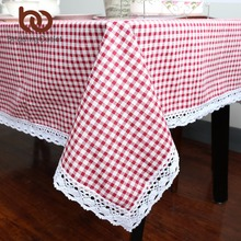 BeddingOutlet Tablecloth Plaid Brown Pink Table Cover Lace Edge Dining Cotton Linen Table Cloth High Quality Home Decoration(China)