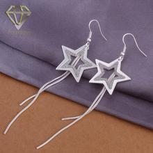 Southwest Jewelry Popular Star Shaped with Double Lines Pendant Silver Plated Long Dangle Earrings for Women Party(China)